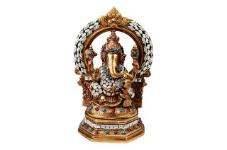 ガネーシャ神像(真鍮製、ビーズ細工、円光背)(受注製作)