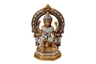 ラクシュミー女神像(真鍮製、ビーズ細工、円光背)(受注製作)