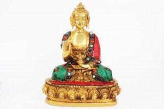 仏陀座像(真鍮製、石細工、約1.7kg)(受注製作)