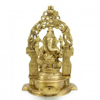 ガネーシャ神像(円光背、ランプ台付)
