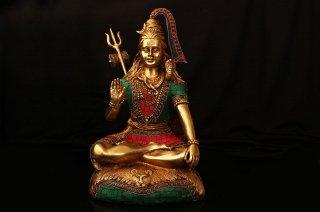 シヴァ神座像(真鍮製、石細工、約7.2kg)(受注製作)
