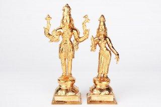 シヴァ&パールヴァティー神像(ブロンズ製)(受注製作)