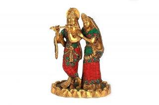 ラーダー・クリシュナ神像(真鍮製、石細工)(受注製作)