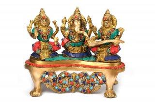 ガネーシャ・ラクシュミー・サラスワティー神像(真鍮製、石細工)(受注製作)