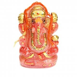 ローズクォーツ・ガネーシャ神像(彩色、285グラム)