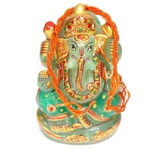 グリーンクォーツァイト・ガネーシャ神像(彩色、453グラム)
