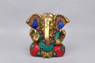 ガネーシャ神像(真鍮製、石細工、大耳)(受注製作)