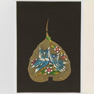 菩提樹の葉の絵葉書 ふくろう