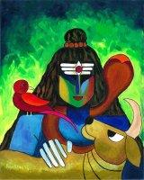 シヴァ神と聖牛ナンディー、鳥 By Priya Krishnan Das