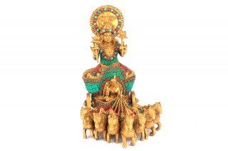 スーリヤ神像(真鍮製、石細工)(受注製作)