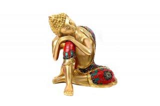 仏陀座像(真鍮製、石細工、安息坐)(受注製作)