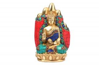 仏陀座像(真鍮製、石細工、アバヤムドラー)(受注製作)