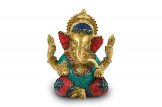 ガネーシャ神像(真鍮製、石細工、4本腕)(受注製作)