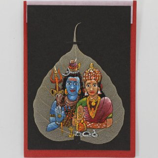 菩提樹の葉の絵葉書 シヴァ&パールヴァティー(A)