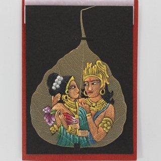菩提樹の葉の絵葉書 ラーダー&クリシュナ(C)