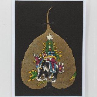 菩提樹の葉の絵葉書 クリスマス象