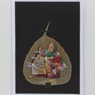 菩提樹の葉の絵葉書 聖母子と天使