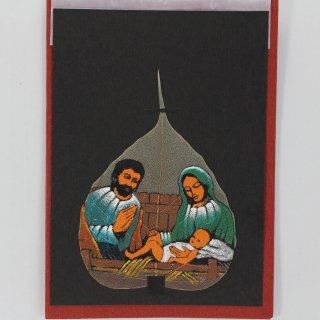 菩提樹の葉の絵葉書 キリストの降誕(B)