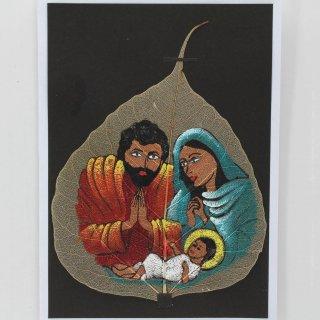 菩提樹の葉の絵葉書 キリストの降誕(C)