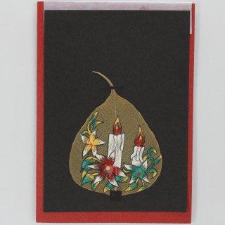菩提樹の葉の絵葉書 キャンドル&フラワー