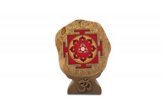 キャッツアイ・ガネーシャ・ヤントラ(木製台座付)(受注製作)