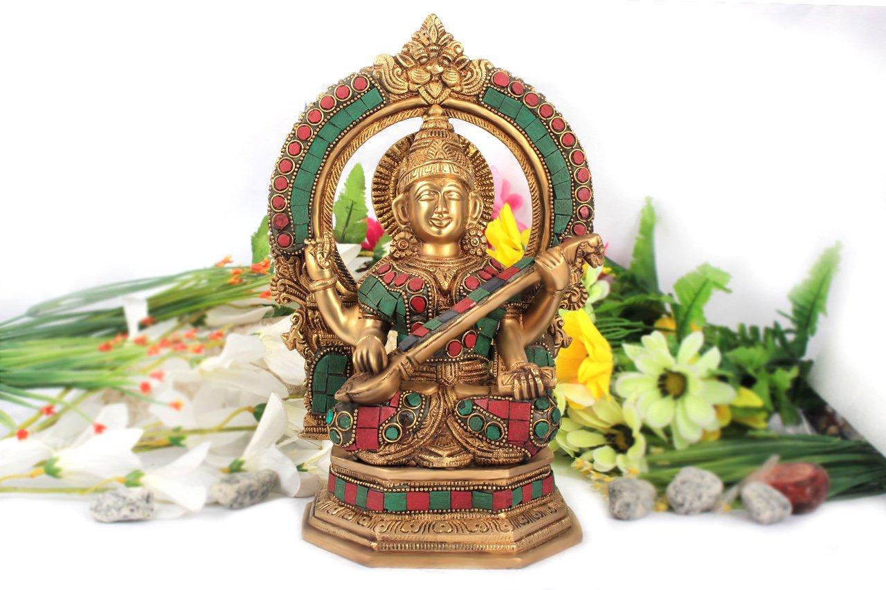 サラスワティー女神像(真鍮製、石細工、円光背)(受注製作)