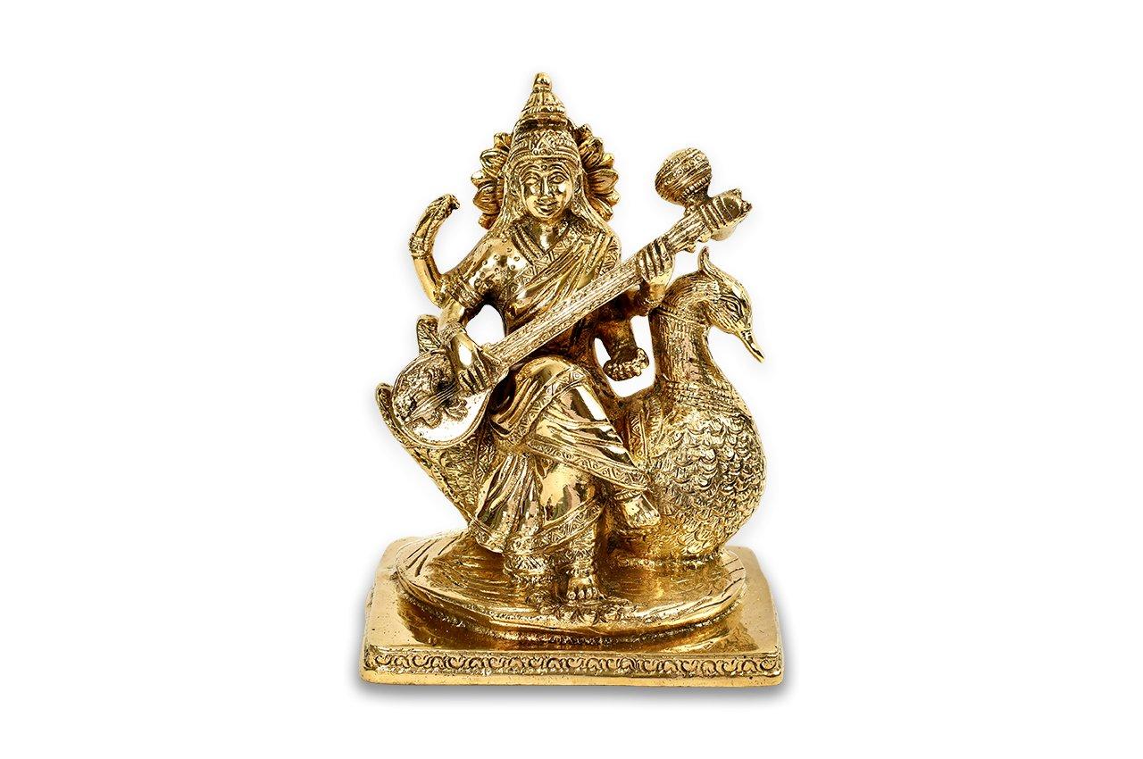 サラスワティー女神像(真鍮製、スワン)(受注製作)