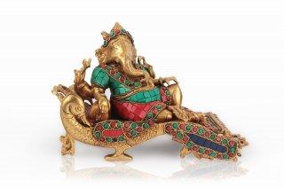 ガネーシャ神像(真鍮製、石細工、ヴィシュラーンティ)(受注製作)