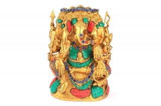ガネーシャ神像(真鍮製、石細工、パンチャムキ)(受注製作)