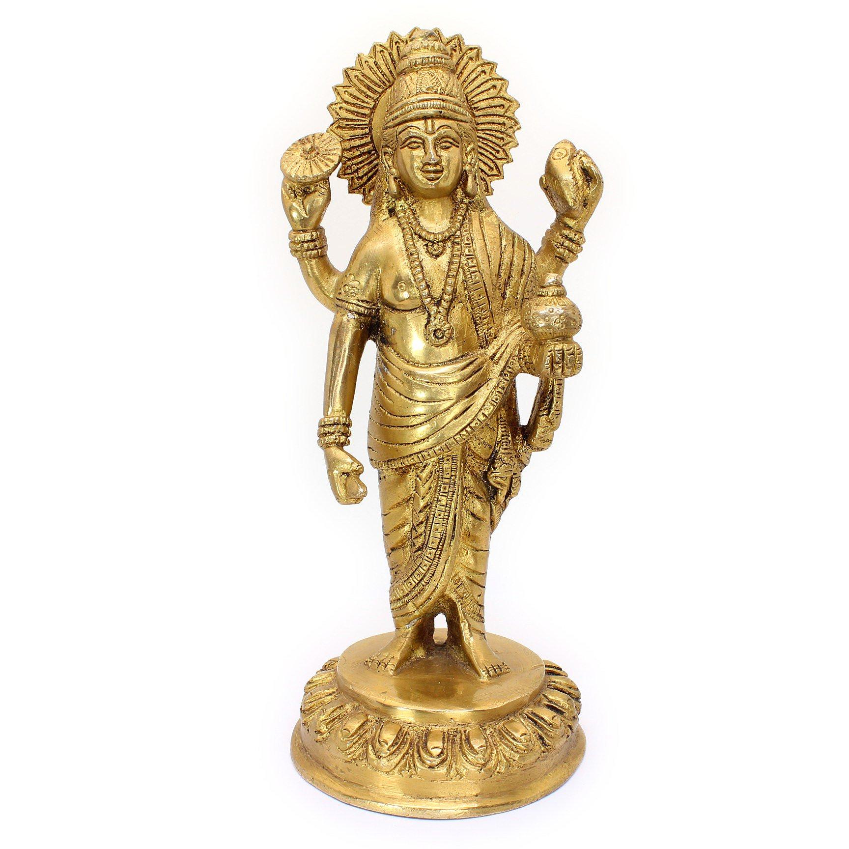 ダンヴァンタリ神像(真鍮製、高さ約20cm)