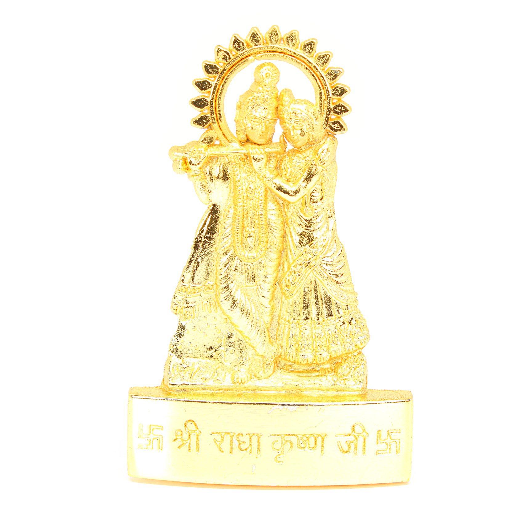 ラーダークリシュナ像(Gold Polish、卓上)