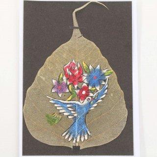 菩提樹の葉の絵葉書 鳥(1羽)