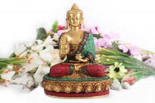 仏陀座像(真鍮製、石細工、約2.8kg)(受注製作)