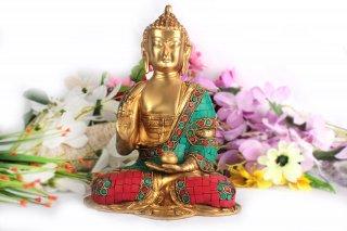 仏陀座像(真鍮製、石細工、約3.2kg)(受注製作)