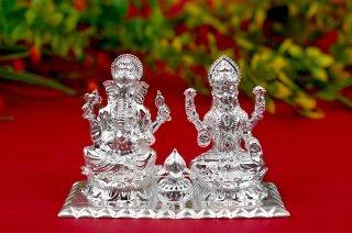 ラクシュミー&ガネーシャ神像(シルバー)(受注製作)