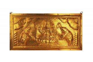 ガジャ・ラクシュミーの壁掛け(真鍮製、長方形)(受注製作)