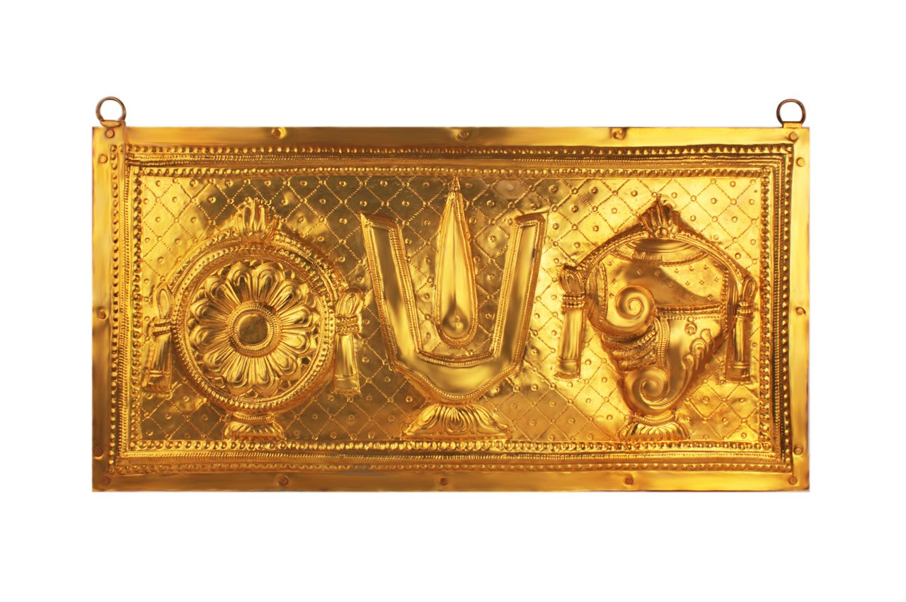 ティルパティ・バラジ・エンブレムの壁掛け(真鍮製)(受注製作)