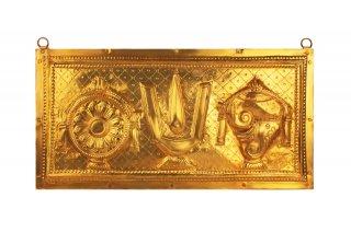 ティルパティ・バラジ・エンブレムの壁掛け(真鍮製、長さ約76cm)(受注製作)