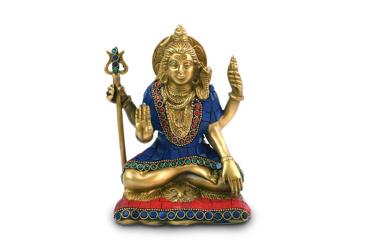 シヴァ神座像(真鍮製、石細工、約1.4kg...