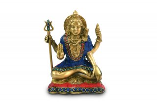 シヴァ神座像(真鍮製、石細工、約1.4kg)(受注製作)
