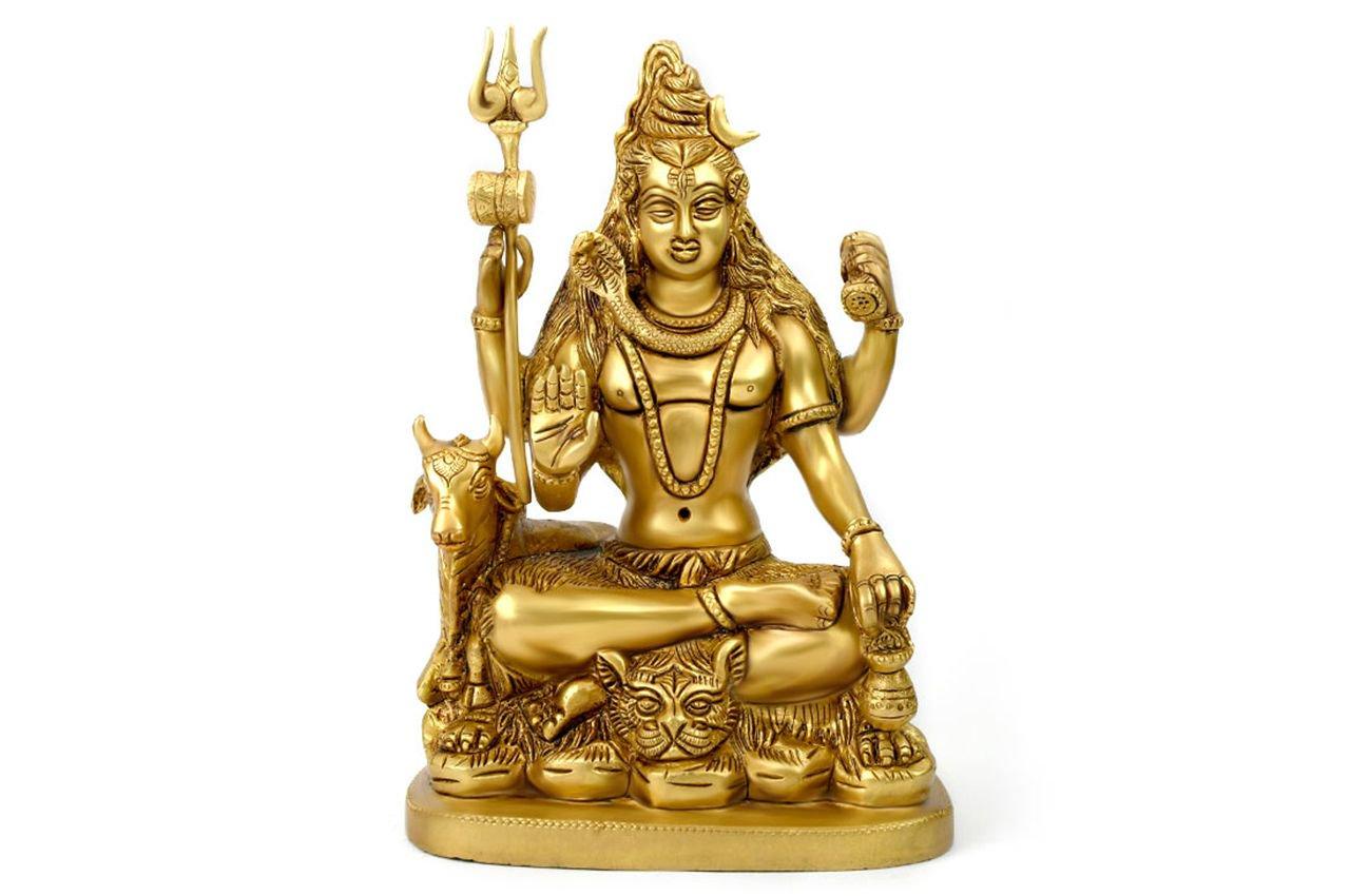 シヴァ・パリヴァール像(真鍮製、石細...