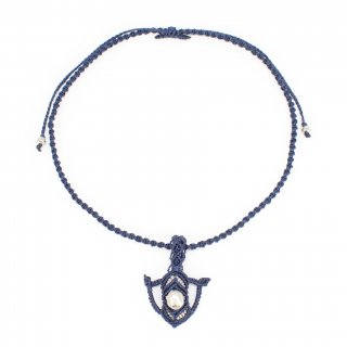 パラド(約12mmサイズ)・マクラメ・ネックレス(紺色)
