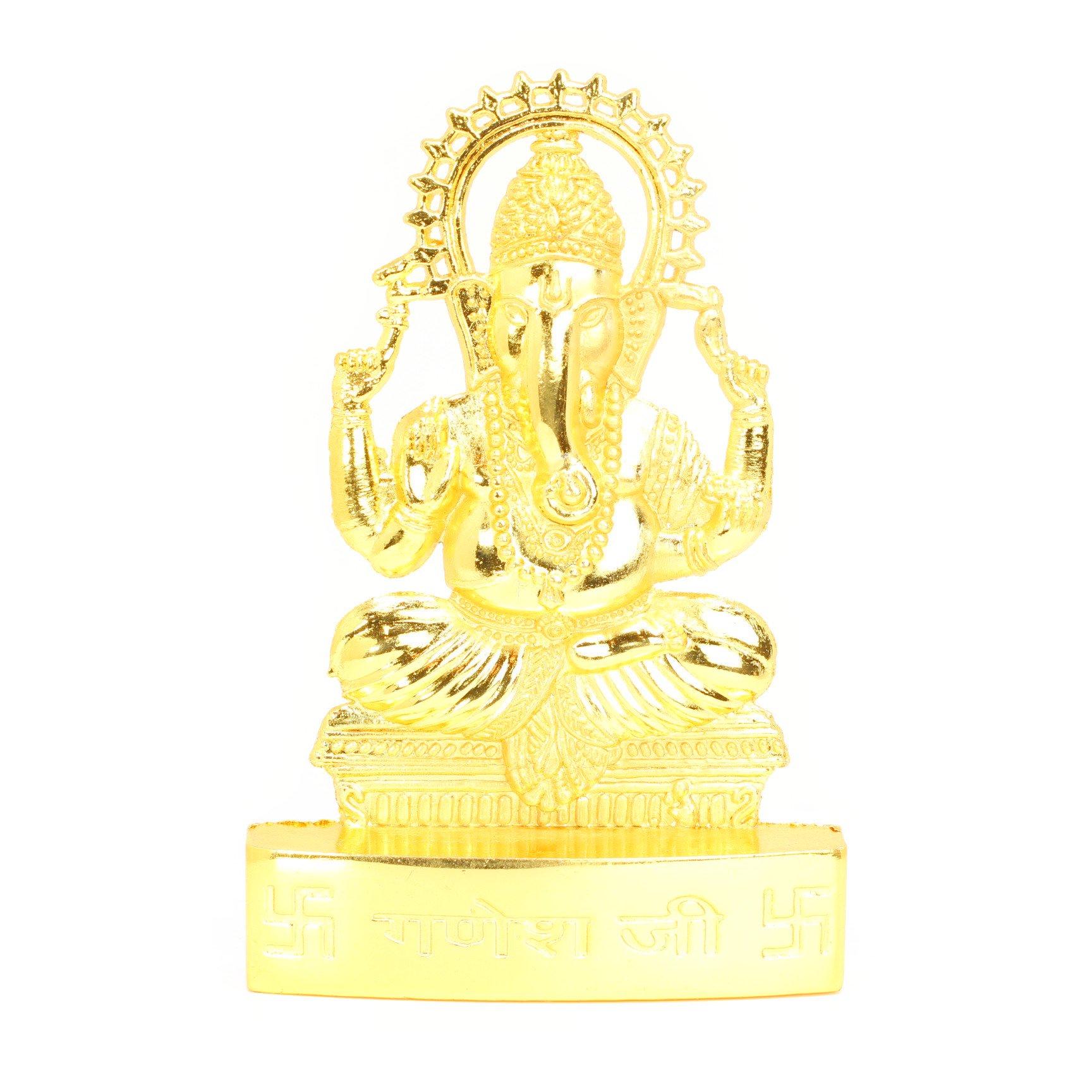 ガネーシャ像(Gold Polish、卓上、高さ約11cm)