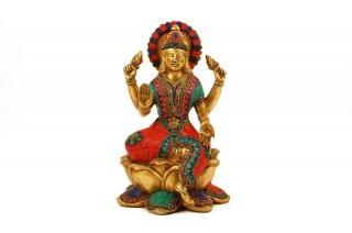 ラクシュミー女神像(真鍮製、石細工)(受注製作)