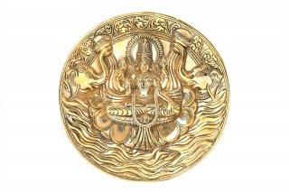 ガジャ・ラクシュミーの壁掛け(真鍮製、円形)(受注製作)