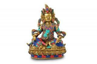 クベーラ神像(真鍮製、石細工)(受注製作)