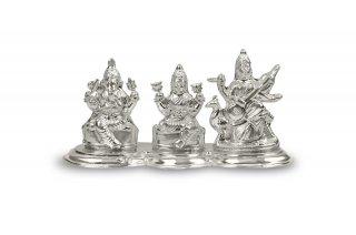 ガネーシャ・ラクシュミー・サラスワティー神像(シルバー、約155グラム)(受注製作)