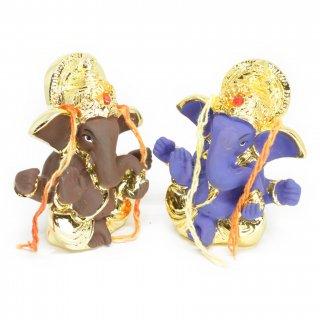 ガネーシャ神像(ブラウン&ゴールド、ブルー&ゴールド)