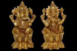 ラクシュミー&ガネーシャ神像(真鍮製、高さ約8cm、約377g)(受注製作)