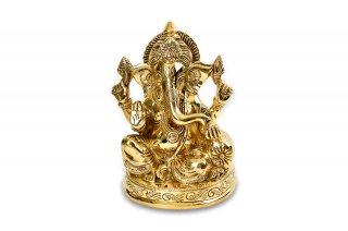 ガネーシャ神像(真鍮製、4本腕、クッション座)(受注製作)